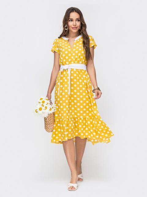 Расклешенное платье в горох с оборкой по низу желтое 49156, фото 1