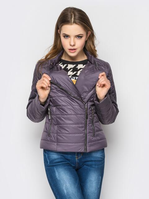 Сиреневая куртка со смещенной молнией на полочке - 12950, фото 1 – интернет-магазин Dressa