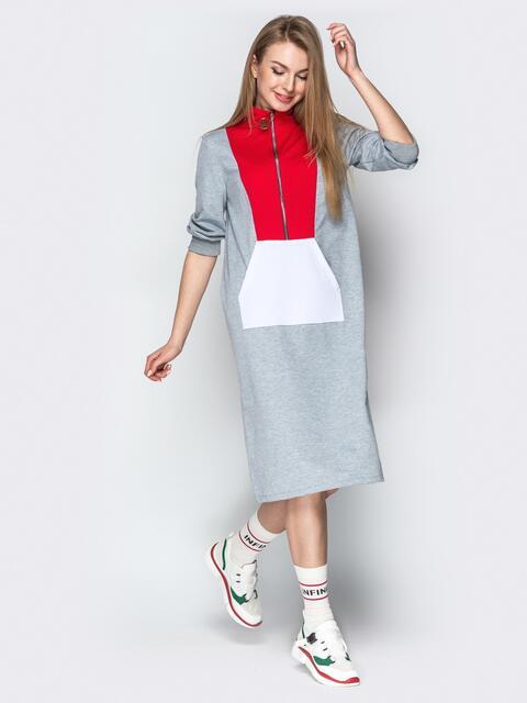 Спортивное платье oversize с карманом-кенгуру серое - 20965, фото 1 – интернет-магазин Dressa