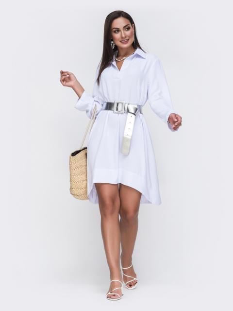 Белое платье батал свободного кроя с удлиненной спинкой 49802, фото 1