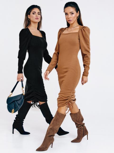 Бежевое платье мелкой вязки с кулисками по бокам 53026, фото 1
