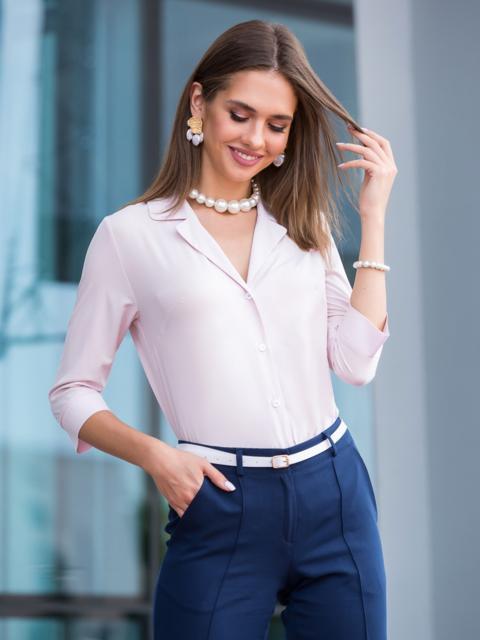Блузка розового цвета с лацканами - 40105, фото 1 – интернет-магазин Dressa