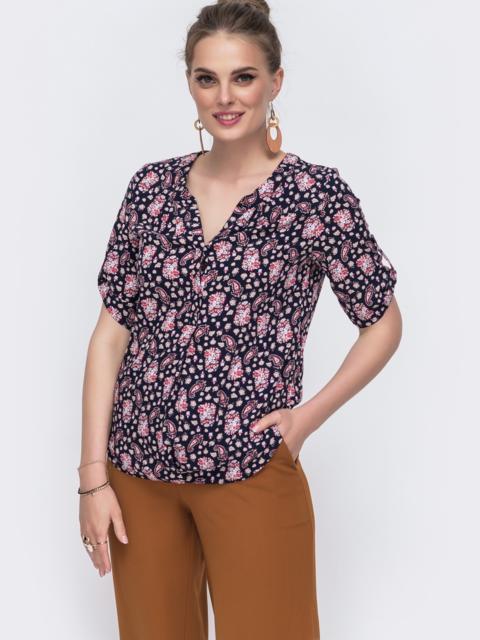 Черная блузка свободного кроя с принтом 48413, фото 2