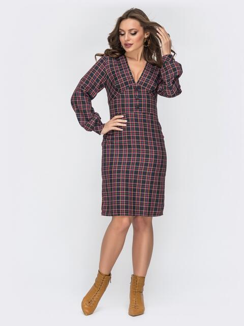 Красное платье в клетку с V-вырезом - 44150, фото 1 – интернет-магазин Dressa