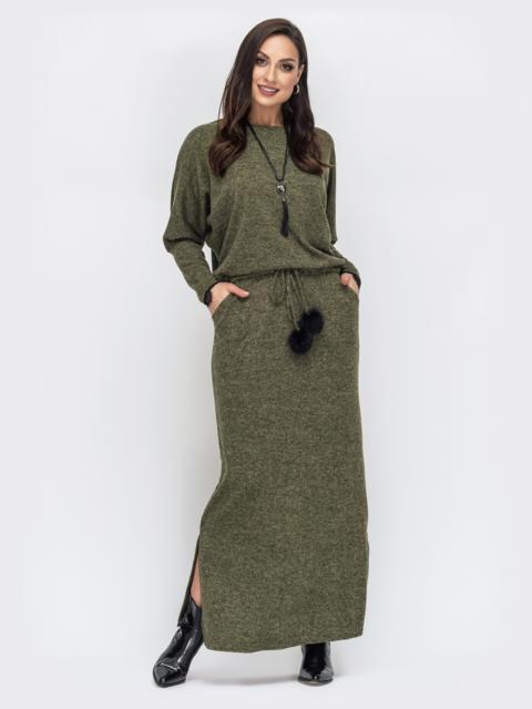 Платье батал в пол с кулиской по талии хаки 44503, фото 1
