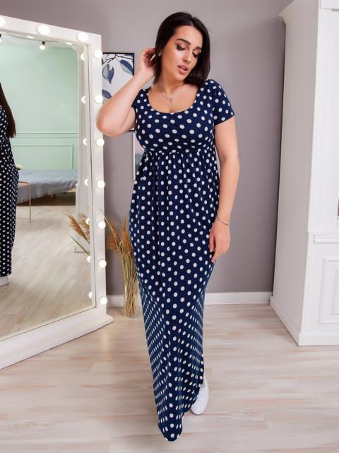 Приталенное платье-макси большого размера в горох тёмно-синее 48396, фото 1
