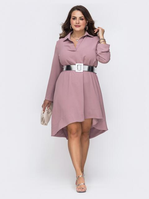 Пудровое платье батал свободного кроя с удлиненной спинкой - 49701, фото 1 – интернет-магазин Dressa