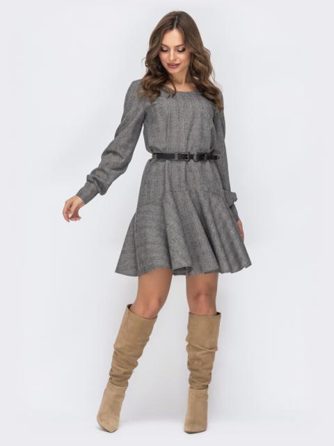Серое платье с воланом по низу - 44152, фото 1 – интернет-магазин Dressa