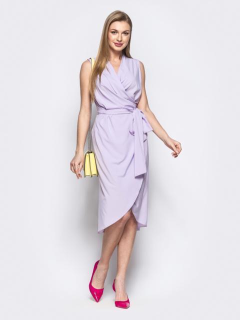 Сиреневое платье-халат из софта с закругленным низом 21578, фото 1
