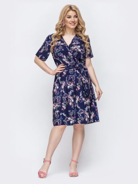 Тёмно-синее платье батал с принтом и резинкой по талии 46328, фото 1