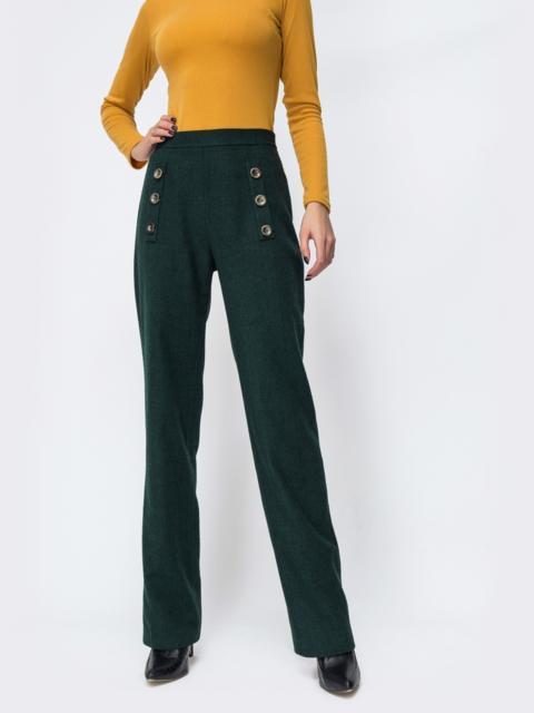 Тёмно-зелёные брюки прямого кроя в клетку - 44147, фото 1 – интернет-магазин Dressa