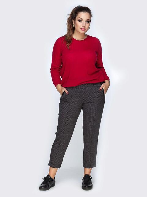 Укороченные брюки серого цвета с подворотами - 19149, фото 1 – интернет-магазин Dressa