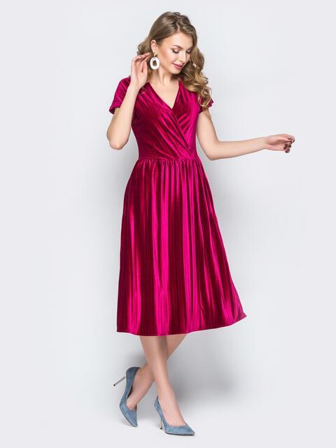 Бордовое платье с V-вырезом и юбкой-клёш - 19637, фото 1 – интернет-магазин Dressa