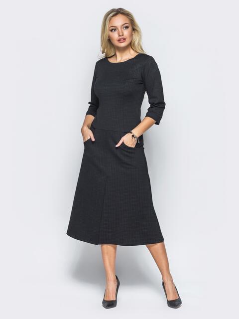 Черное платье в крупную клетку со шлицей - 15702, фото 1 – интернет-магазин Dressa