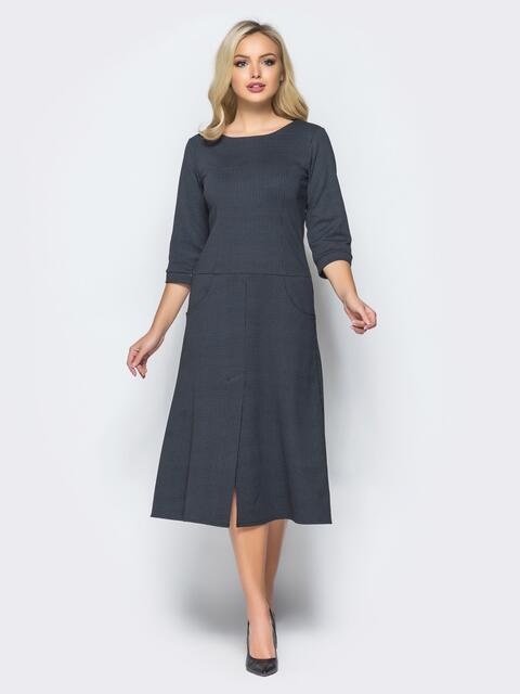 Черное платье в мелкую клетку со шлицей - 15703, фото 1 – интернет-магазин Dressa