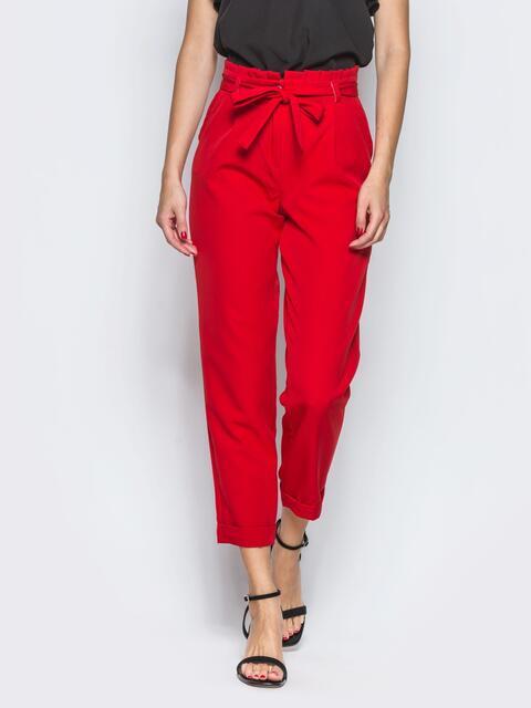 Красные брюки с рюшей на поясе 12764, фото 1