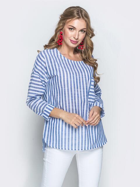 Льняная блузка свободного кроя в полоску синяя - 39470, фото 1 – интернет-магазин Dressa