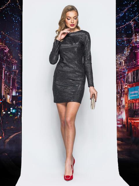 Платье черного цвета из люрекса - 18039, фото 1 – интернет-магазин Dressa