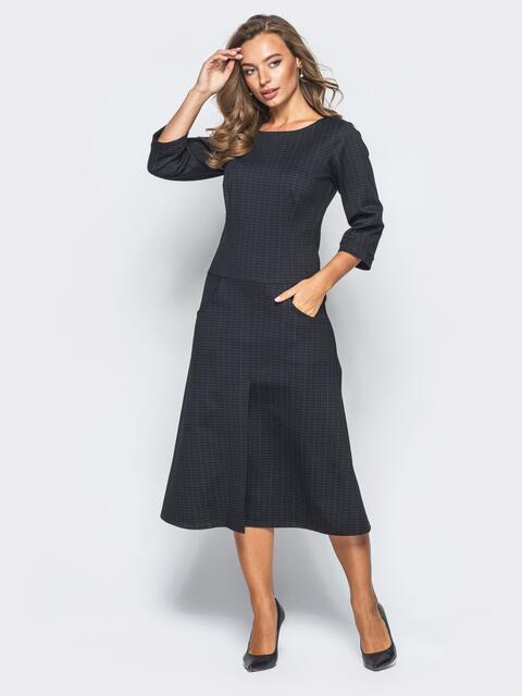 Платье в черный прямоугольник со шлицей - 15701, фото 1 – интернет-магазин Dressa