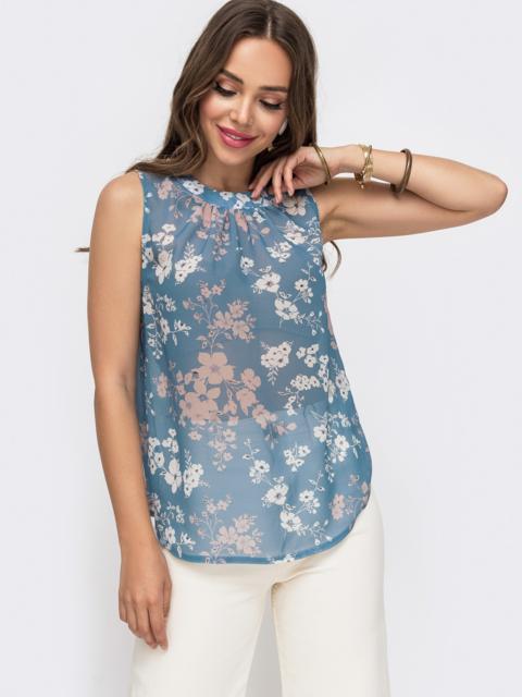 Шифоновая блузка с принтом и бантом на спинке голубая - 49187, фото 1 – интернет-магазин Dressa