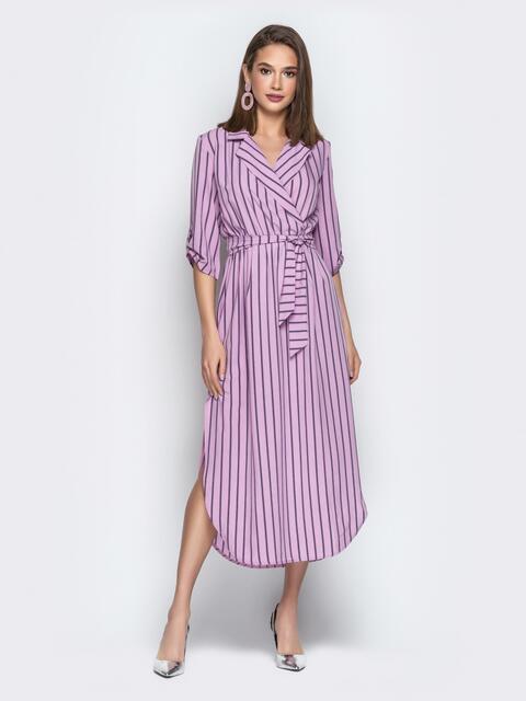 Сиреневое платье-халат в полоску с разрезами - 20330, фото 1 – интернет-магазин Dressa