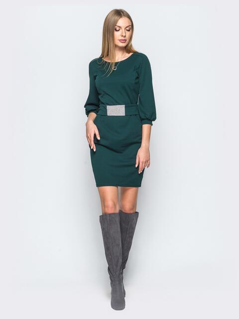 Зелёное платье из креп-дайвинга с поясом со стразами - 17614, фото 1 – интернет-магазин Dressa
