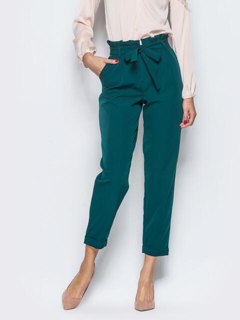 Зелёные брюки с рюшей на поясе 12741, фото 1