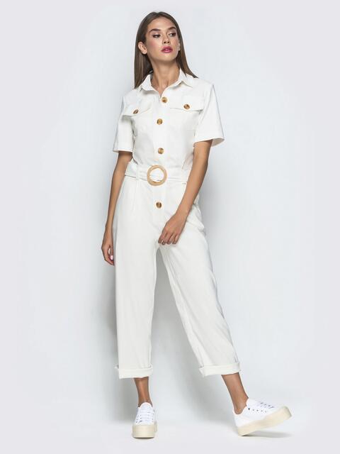 Белый комбинезон с накладными карманами - 40108, фото 1 – интернет-магазин Dressa