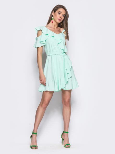 Бирюзовое платье с эластичной вставкой по поясу - 11153, фото 1 – интернет-магазин Dressa