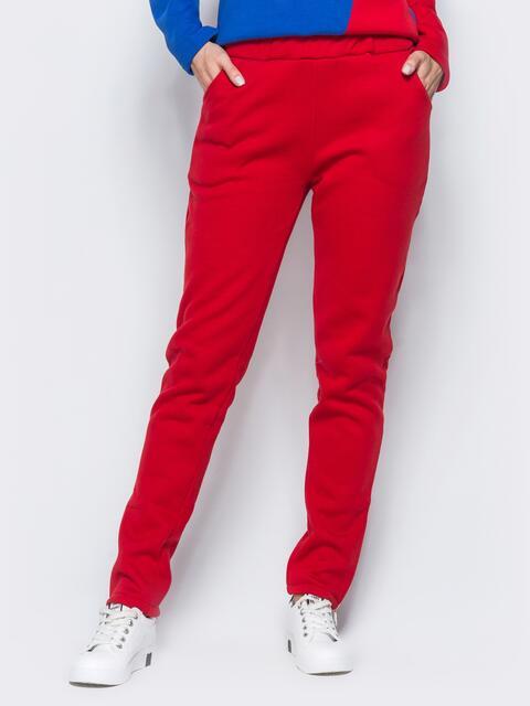 Брюки красного цвета с функциональной молнией на брючине - 17373, фото 1 – интернет-магазин Dressa