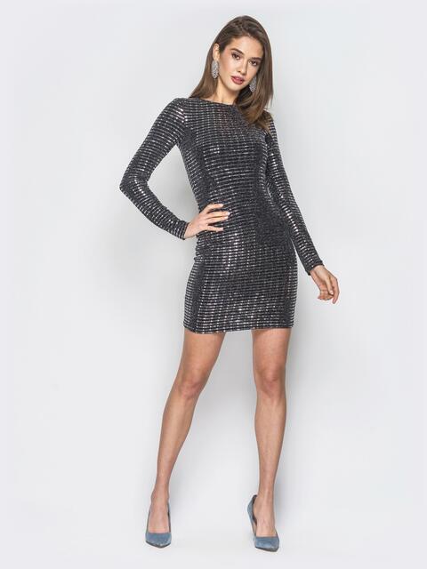 Черное платье с серебристой фурнитурой - 19058, фото 1 – интернет-магазин Dressa