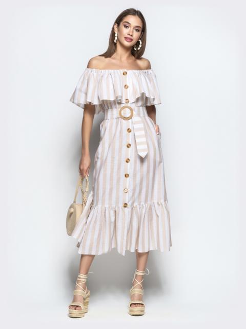 Льняное платье в полоску с горловиной на резинке и воланами - 22062, фото 1 – интернет-магазин Dressa