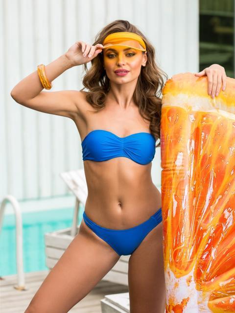 Открытый купальник-бандо синего цвета - 39164, фото 1 – интернет-магазин Dressa