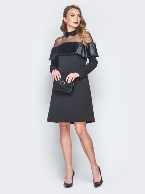 Платье из костюмной ткани с плиссированной оборкой черное - 18785, фото 1 – интернет-магазин Dressa