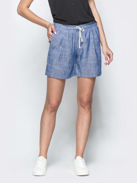 Синие шорты из льна с резинкой по талии - 39411, фото 1 – интернет-магазин Dressa