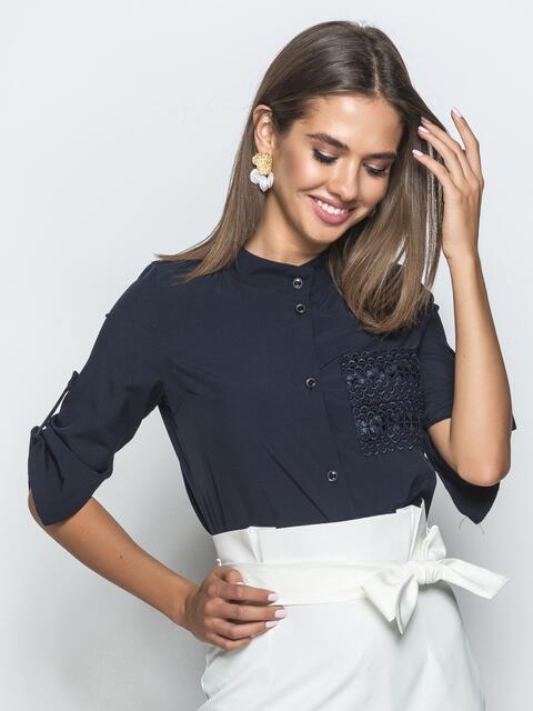 Тёмно-синяя блузка с рукавом 3/4 и накладным карманом 39669, фото 1