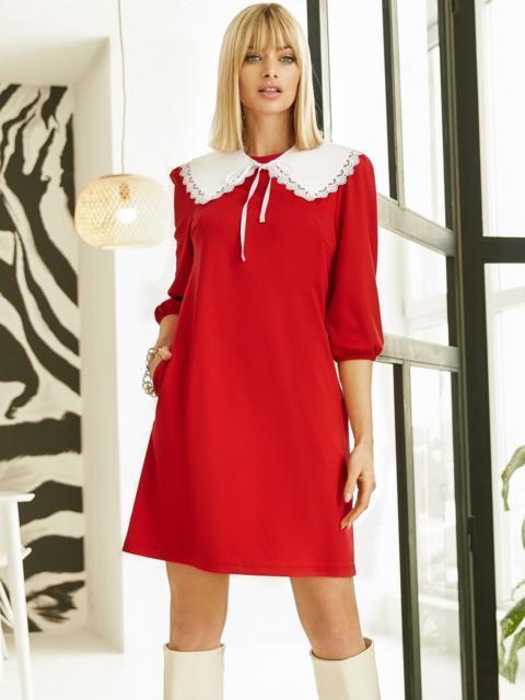 Трикотажное платье-трапеция со съёмным воротником красное 53327, фото 1