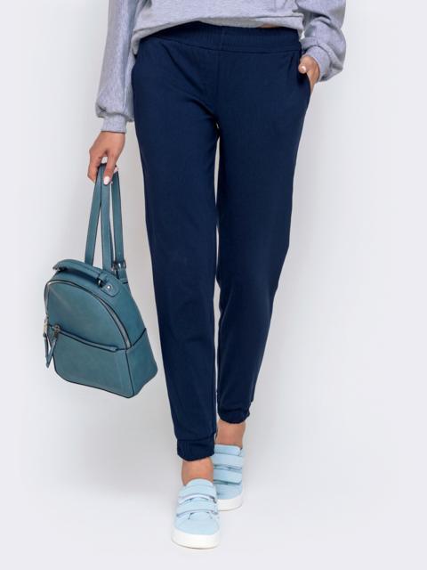 Укороченные брюки-джоггеры тёмного-синего цвета - 40556, фото 1 – интернет-магазин Dressa