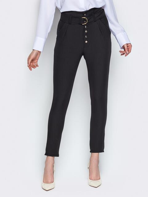 Укороченные брюки с завышенной талией и карманами чёрные - 20878, фото 1 – интернет-магазин Dressa