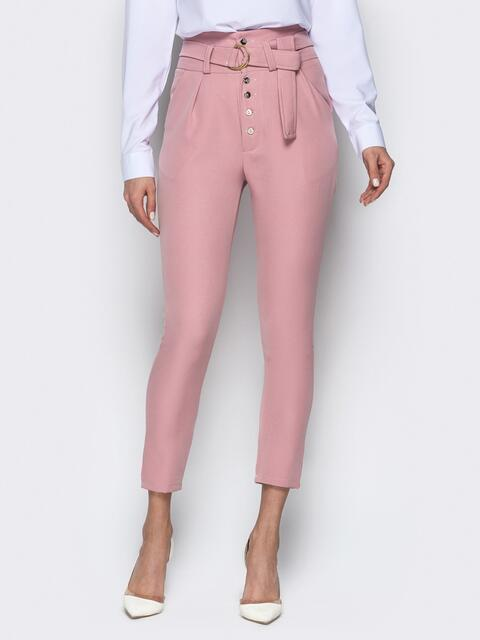 Укороченные брюки с завышенной талией и карманами пудровые - 20879, фото 1 – интернет-магазин Dressa