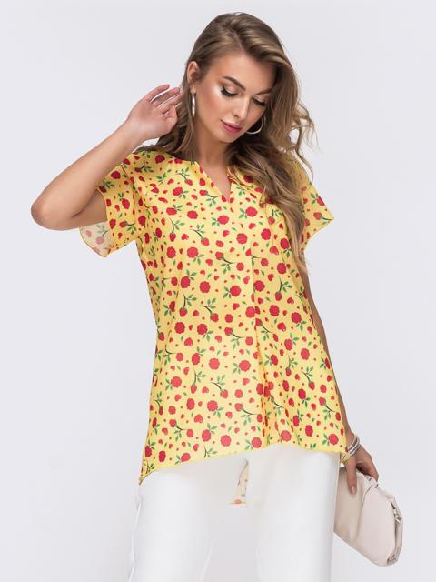 Желтая блузка свободного кроя с принтом 50075, фото 1