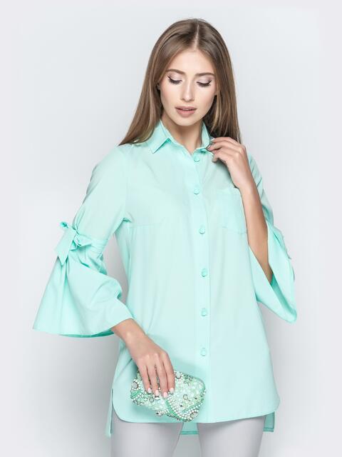 Бирюзовая блузка с рукавами-колокол и удлиненной спинкой - 20938, фото 1 – интернет-магазин Dressa
