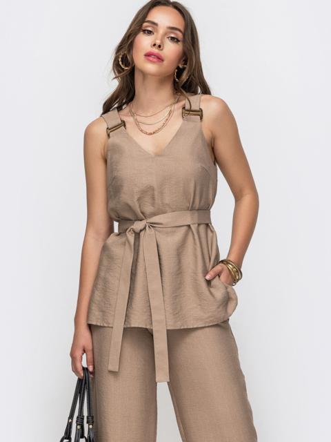 Блузка прямого кроя с V-вырезом и разрезами по бокам бежевая - 49128, фото 1 – интернет-магазин Dressa