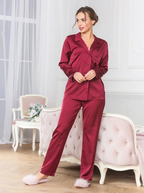 Бордовая пижама с рубашкой и брюками - 18947, фото 1 – интернет-магазин Dressa