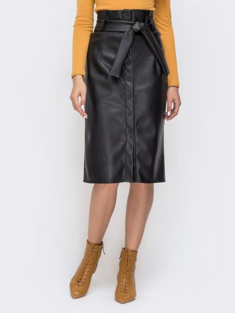 Чёрная юбка-карандаш из искусственной кожи на пуговицах 41502, фото 1