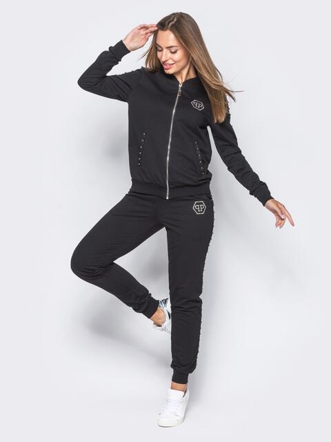Черный спортивный костюм с декоративной тесьмой на брюках - 12003, фото 1 – интернет-магазин Dressa