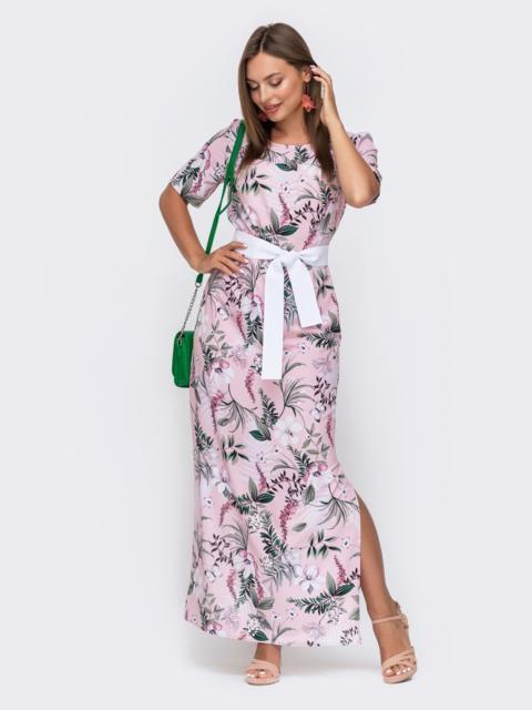 Длинное платье с принтом и разрезами по бокам розовое 49146, фото 1