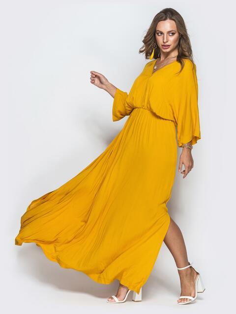 Горчичное платье из льна с резинкой по талии - 39544, фото 1 – интернет-магазин Dressa