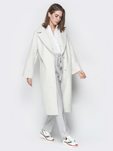 Пальто oversize из шерстяных и акриловых волокон белое - 20095, фото 1 – интернет-магазин Dressa