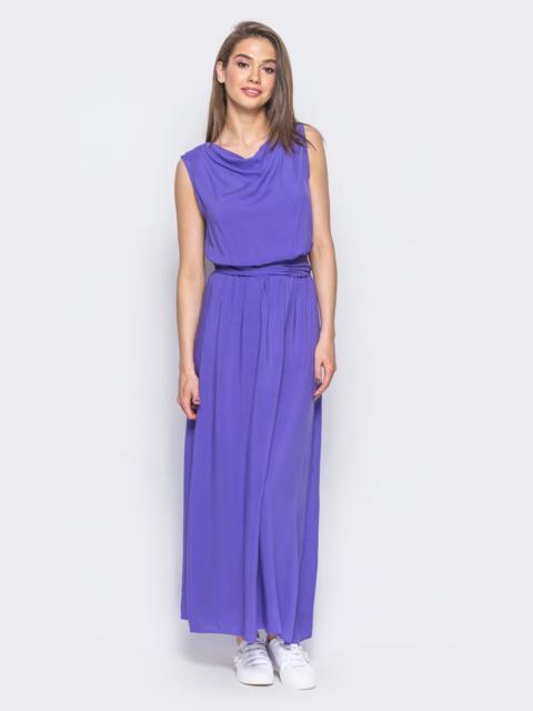 Платье-макси с воротником-хомут сиреневое - 11122, фото 1 – интернет-магазин Dressa